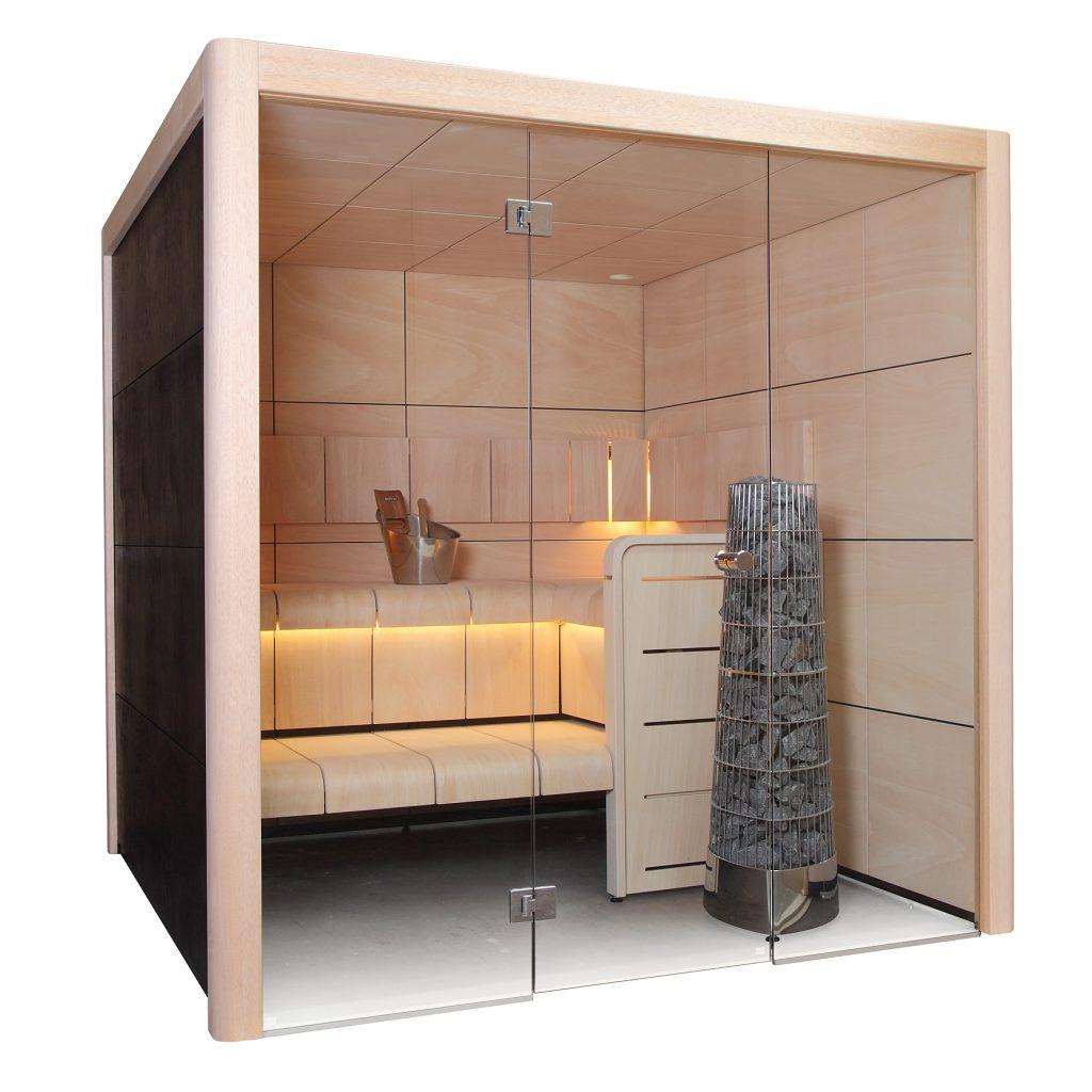 Sauna Claro (Harvia) s prosklenou čelní stěnou a LED diodami v horní lavici